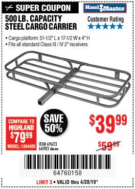 Harbor Freight Coupons, HF Coupons, 20% off - 500 Lb. Capacity Deluxe Steel Cargo Carrier