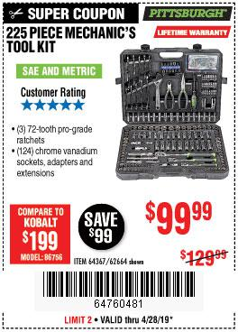 Harbor Freight Coupons, HF Coupons, 20% off - 225 Piece Mechanic's Tool Kit