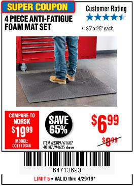 Harbor Freight Coupons, HF Coupons, 20% off - 4 Piece Anti-fatigue Foam Mat Set