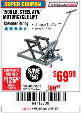 Harbor Freight Coupons, HF Coupons, 20% off - 1500 Lb. Capacity Atv/motorcycle Lift