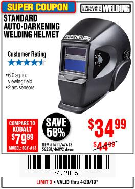 Harbor Freight Coupons, HF Coupons, 20% off - Adjustable Shade Auto-darkening Welding Helmet