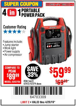 Harbor Freight Coupons, HF Coupons, 20% off - 4 In 1 Portable Power Pack