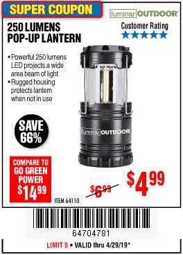 Harbor Freight Coupons, HF Coupons, 20% off - 250 Lumens Pop-up Lantern