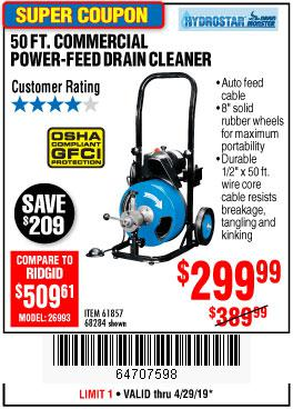 Harbor Freight Coupons, HF Coupons, 20% off - 50 Ft. Commercial Power-feed Drain Cleaner