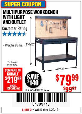 Harbor Freight Coupons, HF Coupons, 20% off - Multipurpose Workbench With Lighting And Outlet