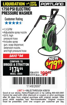 Harbor Freight Coupons, HF Coupons, 20% off - 1750 Psi Electric Pressure Washer