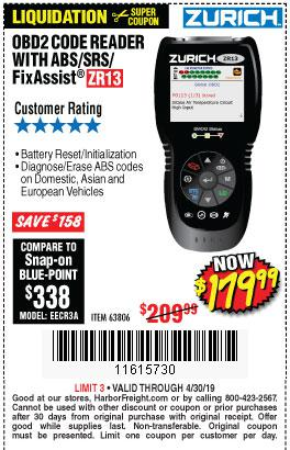 Harbor Freight Coupons, HF Coupons, 20% off - Zurich Obd2 Scanner With Abs Zr13