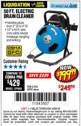 Harbor Freight Coupons, HF Coupons, 20% off - 50 Ft. Electric Drain Cleaner