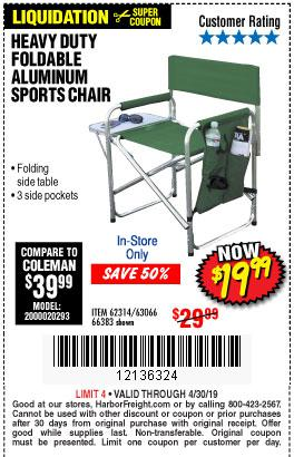 Harbor Freight Coupons, HF Coupons, 20% off - Foldable Aluminum Sports Chair