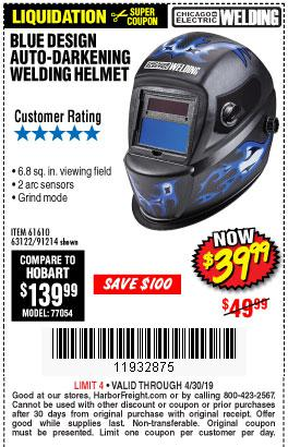 Harbor Freight Coupons, HF Coupons, 20% off - Auto-darkening Welding Helmet With Blue Flame Design