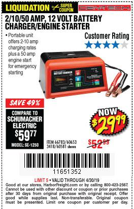 Harbor Freight Coupons, HF Coupons, 20% off - 12 Volt, 2/10/50 Amp Battery Charger/engine Starter