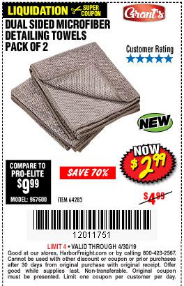 Harbor Freight Coupons, HF Coupons, 20% off - Dual Sided Microfiber Detailing Towels Pack Of 2