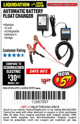 Harbor Freight Coupons, HF Coupons, 20% off - Automatic Battery Float Charger