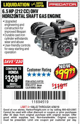 Harbor Freight Coupons, HF Coupons, 20% off - 6.5 Hp (212 Cc) Ohv Horizontal Shaft Gas Engines