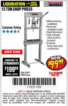 Harbor Freight Coupons, HF Coupons, 20% off - 12 Ton Shop Press