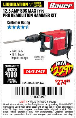 Harbor Freight Coupons, HF Coupons, 20% off - 12.5 Amp Sds Max Type Pro Hammer Kit