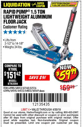 Harbor Freight Coupons, HF Coupons, 20% off - 1.5 Ton Lightweight Aluminum Jack