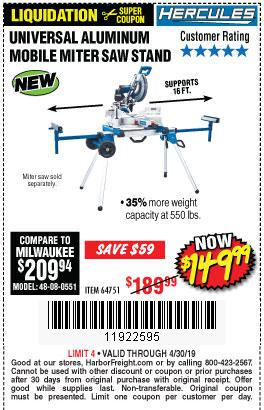 Harbor Freight Coupons, HF Coupons, 20% off - Hercules Heavy Duty Mobile Miter Saw Stand