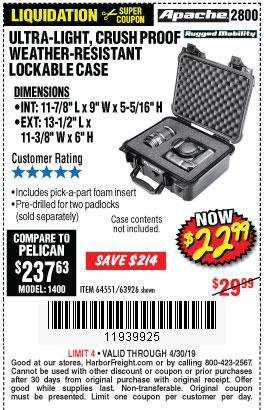 Harbor Freight Coupons, HF Coupons, 20% off - Apache 2800 Case