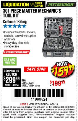 Harbor Freight Coupons, HF Coupons, 20% off - 301 Piece Master Mechanic's Tool Kit