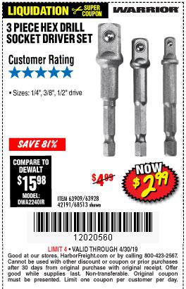 Harbor Freight Coupons, HF Coupons, 20% off - 3 Piece Hex Drill Socket Driver Set