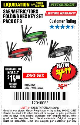 Harbor Freight Coupons, HF Coupons, 20% off - Sae/metric/torx Folding Hex Key Set Pack Of 3