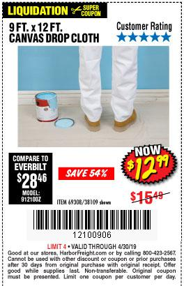 Harbor Freight Coupons, HF Coupons, 20% off - 9 Ft. X 12 Ft. Canvas Drop Cloth