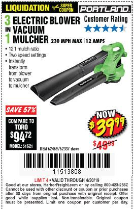Harbor Freight Coupons, HF Coupons, 20% off - 3 In 1 Electric Blower Vacuum Mulcher