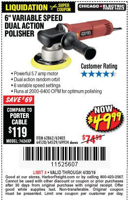 Harbor Freight Coupons, HF Coupons, 20% off - 6 In. 5.7 Amp Heavy Duty Dual Action Variable Speed Polisher