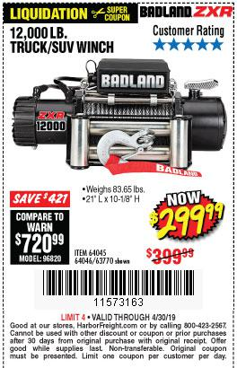 Harbor Freight Coupons, HF Coupons, 20% off - Badland Zxr12000 12000 Lb. Off-road Vehicle Electric Winch With Automatic Load-holding Brake