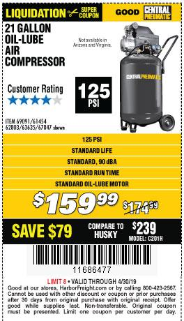 Harbor Freight Coupons, HF Coupons, 20% off - 2.5 Hp, 21 Gallon 125 Psi Vertical Air Compressor