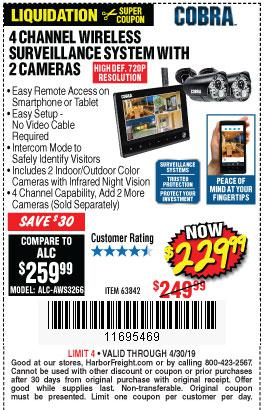 Harbor Freight Coupons, HF Coupons, 20% off - 4 Channel Wireless Surveillance System With 2 Cameras