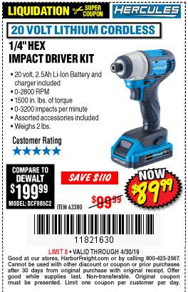Harbor Freight Coupons, HF Coupons, 20% off - 20 Volt Lithium Cordless 1/4