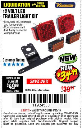 Harbor Freight Coupons, HF Coupons, 20% off - 12 Volt Led Trailer Light Kit