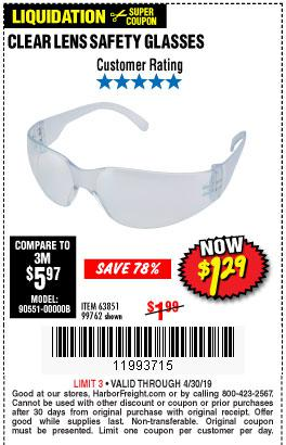 Harbor Freight Coupons, HF Coupons, 20% off - Clear Lens Safety Glasses