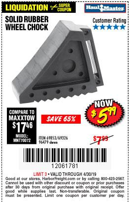 Harbor Freight Coupons, HF Coupons, 20% off - Solid Rubber Wheel Chock