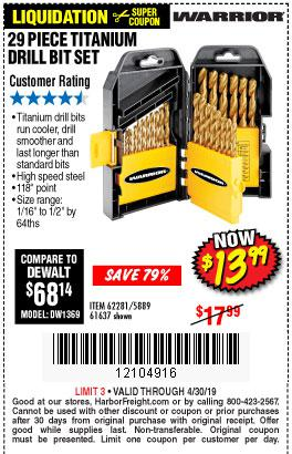 Harbor Freight Coupons, HF Coupons, 20% off - 29 Piece Titanium Drill Bit Set