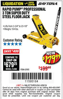 Harbor Freight Coupons, HF Coupons, 20% off - 3 Ton Daytona Professional Steel Floor Jack - Super Duty