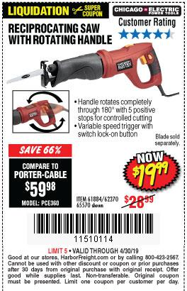 Harbor Freight Coupons, HF Coupons, 20% off - 6 Amp Heavy Duty Reciprocating Saw