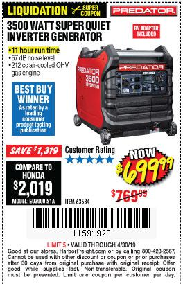 Harbor Freight Coupons, HF Coupons, 20% off - 3500 Watt Super Quiet Inverter Generator