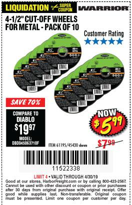 Harbor Freight Coupons, HF Coupons, 20% off - Warrior 4-1/2