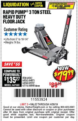 Harbor Freight Coupons, HF Coupons, 20% off - Rapid Pump 3 Ton Steel Heavy Duty Floor Jack