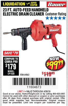 Harbor Freight Coupons, HF Coupons, 20% off - Bauer 23 Ft Auto Feed Handheld Electric Drain Cleaner