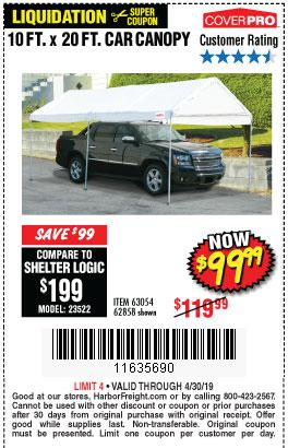 Harbor Freight Coupons, HF Coupons, 20% off - 10 Ft X 20 Ft Car Canopy