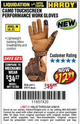 Harbor Freight Coupons, HF Coupons, 20% off - Hardy Camo Touchscreen Performance Work Gloves