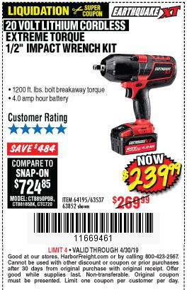 Harbor Freight Coupons, HF Coupons, 20% off - Earthquake Xt 20 Volt Cordless Extreme Torque 1/2