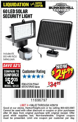 Harbor Freight Coupons, HF Coupons, 20% off - 60 Led Solar Security Light