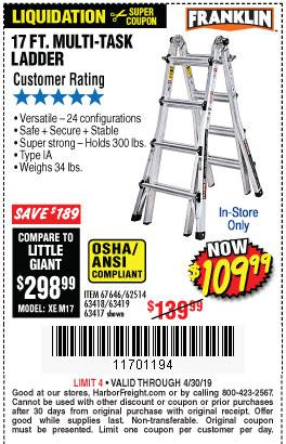 Harbor Freight Coupons, HF Coupons, 20% off - 17 Ft. Type 1a Multi-task Ladder