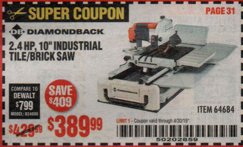 Harbor Freight Coupons, HF Coupons, 20% off - 2.4 Hp, 10