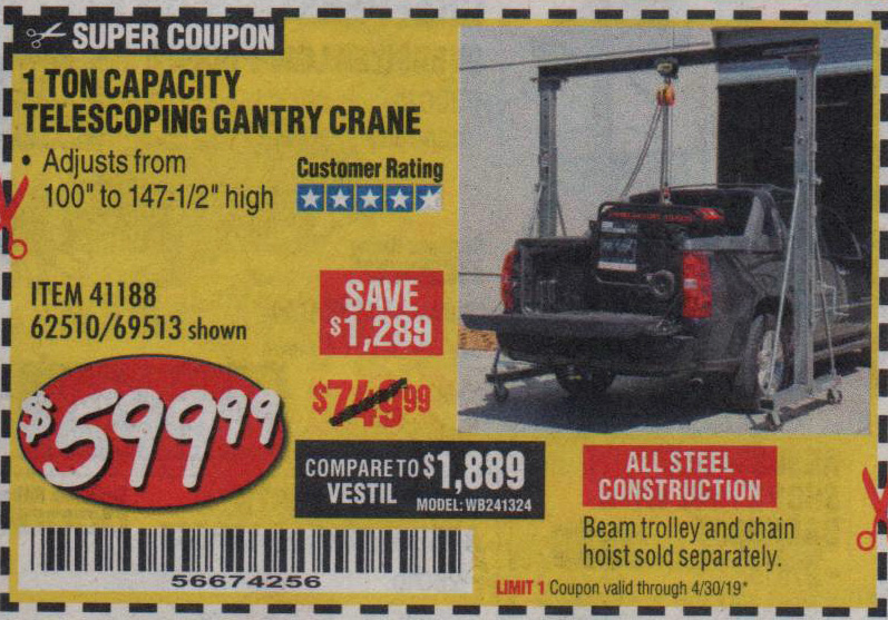 Harbor Freight Coupons, HF Coupons, 20% off - 1 Ton Capacity Telescoping Gantry Crane